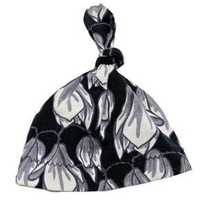 Black & White Floral Print Knotted Infant Cap